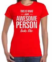 Awesome person persoon cadeau t-shirt rood dames trend