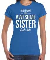 Awesome sister tekst t-shirt blauw dames trend