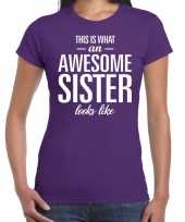 Awesome sister tekst t-shirt paars dames trend