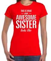 Awesome sister tekst t-shirt rood dames trend