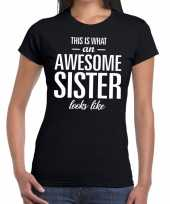 Awesome sister tekst t-shirt zwart dames trend