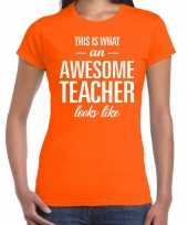Awesome teacher cadeau juffendag t-shirt oranje dames trend