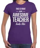 Awesome teacher cadeau juffendag t-shirt paars dames trend
