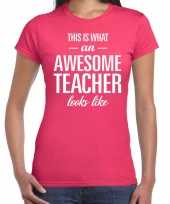 Awesome teacher cadeau juffendag t-shirt roze dames trend