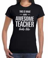 Awesome teacher cadeau juffendag t-shirt zwart dames trend