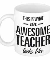 Awesome teacher cadeau mok beker voor juf meester 300 ml trend