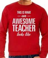 Awesome teacher leraar cadeau sweater rood heren trend