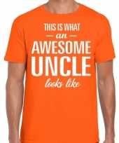 Awesome uncle oom cadeau t-shirt oranje heren trend