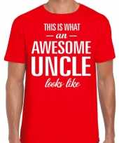 Awesome uncle oom cadeau t-shirt rood heren trend
