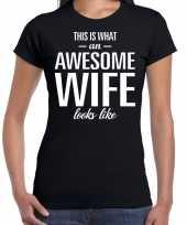 Awesome wife echtgenote cadeau t-shirt zwart dames trend