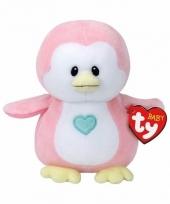 Babyshower meisje knuffeldier ty baby roze pinguin penny 17 cm trend