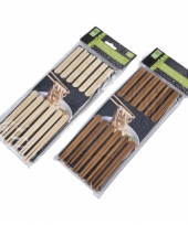 Bamboe eetstokjes donker hout 12 stuks trend