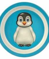 Bamboe ontbijtbordjes pinguin voor kinderen 21 cm trend