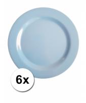Barbecue borden blauw van plastic 6 stuks 25 cm trend
