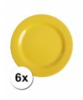 Barbecue borden geel van plastic 6 stuks 20 cm trend