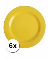 Barbecue borden geel van plastic 6 stuks 25 cm trend