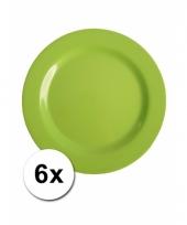 Barbecue borden groen van plastic 6 stuks 20 cm trend