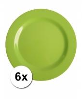 Barbecue borden groen van plastic 6 stuks 25 cm trend