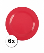 Barbecue borden rood van plastic 6 stuks 20 cm trend