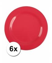 Barbecue borden rood van plastic 6 stuks 25 cm trend