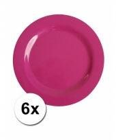 Barbecue borden roze van plastic 6 stuks 20 cm trend