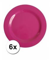 Barbecue borden roze van plastic 6 stuks 25 cm trend