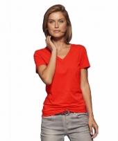 Basic dames t-shirt v hals rood trend