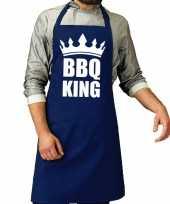 Bbq king barbeque schort keukenschort kobalt blauw voor heren trend