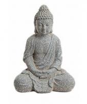 Beeld mediterende boeddha grijs 41 cm trend