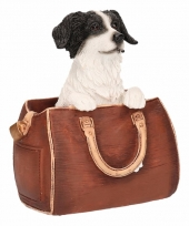Beeldje border collie hond in tas 11 cm trend