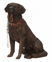 Beeldje bruine labrador hond met riem 18 cm trend