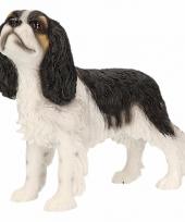 Beeldje cavalier king charles zwart wit 14 cm trend
