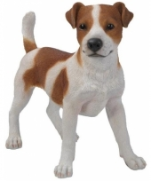 Beeldje jack russel hondje bruin wit 35 cm trend