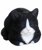 Beeldje slapende zwarte kat 34 cm trend