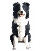 Beeldje zwarte border collie hond 26 cm trend