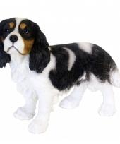 Beeldje zwarte king charles hond 31 cm trend