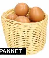 Beige paasmandje met eieren naturel 14 cm trend
