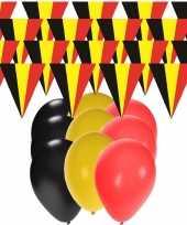 Belgie supporter versiering slingers 20 meter en 60x ballonnen trend