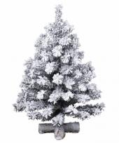 Besneeuwde kunst kerstboom op kruispoot 60 cm trend