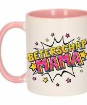 Beterschap mama cadeau mok beker wit en roze 300 ml trend
