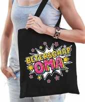 Beterschap oma katoenen cadeau tas zwart voor dames trend