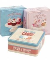 Bewaarblikje blauwe cupcakes trend