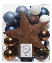 Blauw bruin wit kerstballen pakket met piek 33 stuks trend