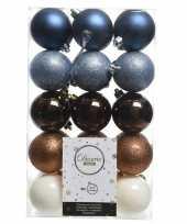 Blauw bruin witte kerstversiering kerstballenset kunststof 6 cm trend