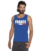 Blauw frankrijk supporter singlet-shirt tanktop heren trend