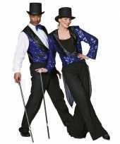 Blauw glitter vestje voor heren trend