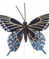 Blauw gouden vlinder kerstversiering steker decoratie 6 cm trend