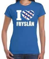 Blauw i love fryslan t-shirt dames trend