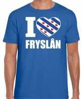 Blauw i love fryslan t-shirt heren trend