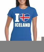Blauw i love ijsland fan shirt dames trend